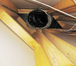 Broken air duct in the attic