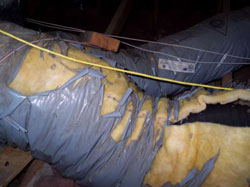 heater repair furnace repair central gas furnace repair. Air conditioning repair. Broken air ducts in the attic.