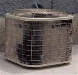 heater repair furnace repair central gas furnace repair. Air conditioning repair. Dirty coils in the outdoor cooling unit.