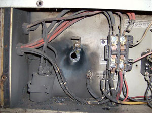 heater repair furnace repair central gas furnace repair. Air conditioning repair. Short cirucit in the outdoor cooling unit.