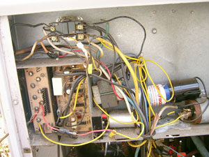 heater repair furnace repair central gas furnace repair. Air conditioning repair. Sloppy wires leads to failure.