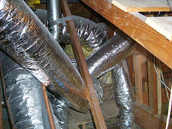 heater repair furnace repair central gas furnace repair. Messy duct installation restricting airflow, Corona, Norco, Anaheim, Yorba Linda, Irvine, Mission Viejo, Whittier duct testing
